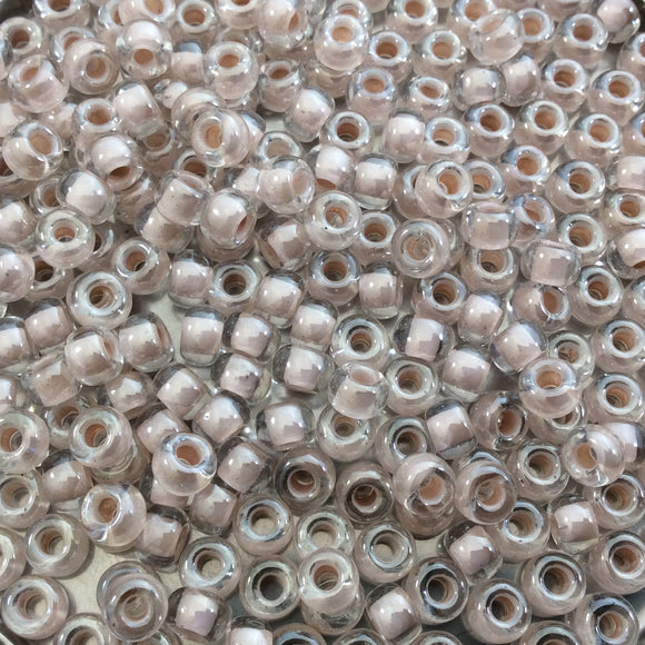 Size 6/0 Glossy Finish Blush Lined Crystal Clear Genuine Miyuki Glass Seed Beads - Sold by 20 Gram Tubes (Approx 200 Beads/Tube) - (6-9215)