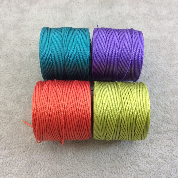 SET OF 4 - Beadsmith S-Lon 210 Color Coordinated Assorted Brights Mix Nylon Macrame/Jewelry Cord Spool Set - 0.5mm Thick - (SL210-MIX7)