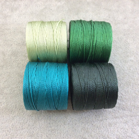 SET OF 4 - Beadsmith S-Lon 210 Color Coordinated Evergreen Mix Nylon Macrame/Jewelry Cord Spool Set - 0.5mm Thick - (SL210-MIX103)