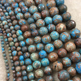 "4mm Glossy Finish Enhanced ""Blue Sky"" Calsilica Jasper Round/Ball Shaped Beads with 1mm Holes - Sold by 15.5"" Strands (Approx. 102 Beads)"
