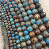 "14mm Glossy Finish Enhanced ""Blue Sky"" Calsilica Jasper Round/Ball Shaped Beads with 1mm Holes - Sold by 15.25"" Strands (Approx. 28 Beads)"