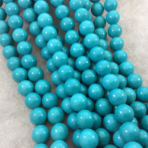 12mm Smooth Dyed Teal Blue Howlite Round/Ball Shaped Beads with 1mm Holes - Sold by 15.25