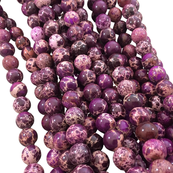 10mm Smooth Dyed Purple/Magenta Sea Sediment Jasper Round/Ball Shaped Beads - 16