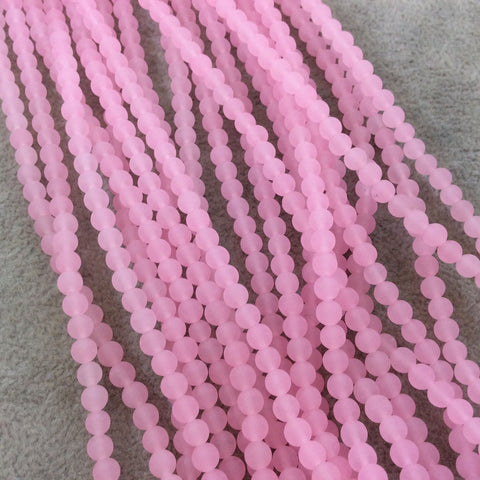"4mm Matte Finish Dyed Light Pink Jade Round/Ball Shaped Beads with 0.8mm Holes - Sold by 15"" Strands (Approx. 92 Beads) - Quality Gemstone"