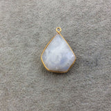 Gold Plated Natural Moonstone Faceted Inverted Shield Shape Copper Bezel Pendant - Measures 23mm x 25mm - Sold Individually, Randomly Chosen
