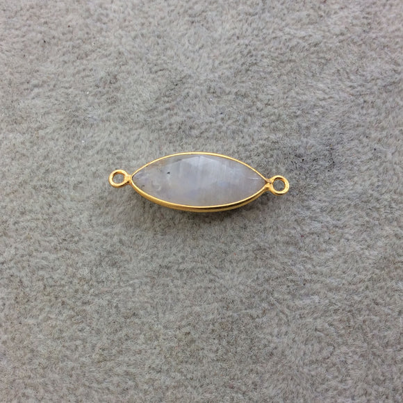 Gold Plated Natural Moonstone Faceted Marquise Shaped Copper Bezel Connector - Measures 11mm x 23mm - Sold Individually, Randomly Chosen