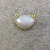 Gold Plated Natural Moonstone Faceted Inverted Triangle Shaped Copper Bezel Pendant - Measures 28mm x 20mm - Sold Individually, Random