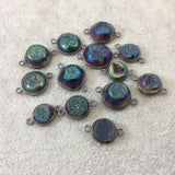 Gunmetal Plated Rainbow Titanium Druzy Agate Freeform Round Shaped Bezel Connector - Measuring 12-14mm, Approx. - Individual, Random