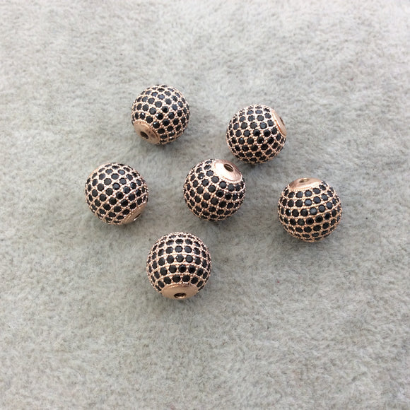 12mm Rose Gold Plated CZ Cubic Zirconia Inlaid Round/Ball Shaped Copper Bead with 2mm Holes - Sold Individually - Other Colors Available!