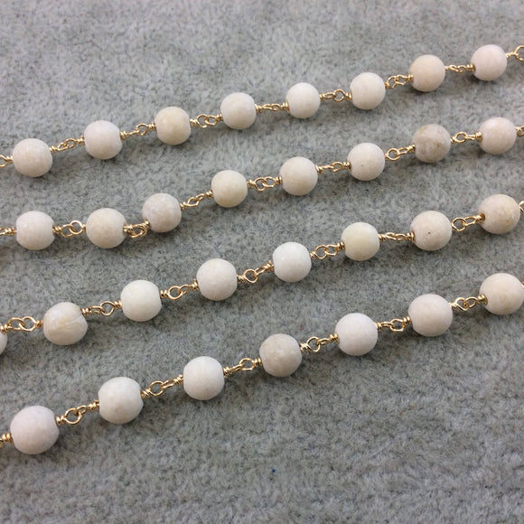 Gold Plated Copper Wrapped Rosary Chain with 6mm Matte Natural Cream River Stone Round Shaped Beads - Sold by the foot! (CH310-GD)