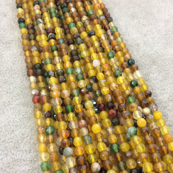 4mm Faceted Mixed Yellow/Green Agate Round/Ball Shaped Beads - 14.75