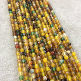 "4mm Faceted Mixed Yellow/Green Agate Round/Ball Shaped Beads - 14.75"" Strand (Approximately 95 Beads) - Natural Semi-Precious Gemstone"