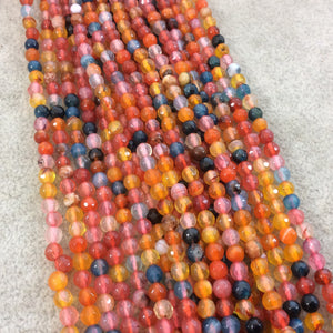 "4mm Faceted Mixed Yellow/Pink/Blue Agate Round/Ball Shaped Beads - 14.75"" Strand (Approximately 95 Beads) - Natural Semi-Precious Gemstone"
