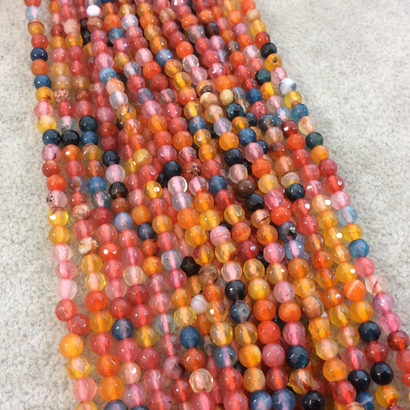 4mm Faceted Mixed Yellow/Pink/Blue Agate Round/Ball Shaped Beads - 14.75