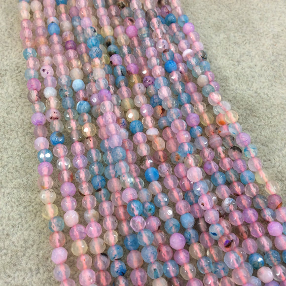 4mm Faceted Light Pink/Blue/Yellow Agate Round/Ball Shaped Beads - 14.75