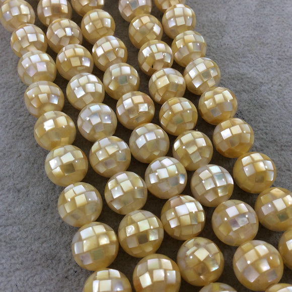 LOOSE BEADS - 12mm Pearly Yellow Natural Mother of Pearl Inlaid Round/Ball Beads with 1mm Holes - Sold in Pre-Packed Bags of 10 Beads