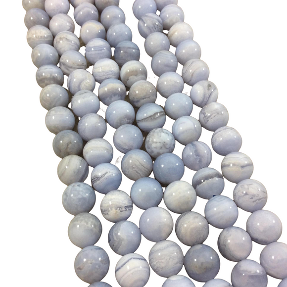 10mm Natural Glossy Banded Blue Lace Agate Round/Ball Beads - Sold by 15