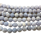 "10mm Natural Glossy Banded Blue Lace Agate Round/Ball Beads - Sold by 15"" Strands (Approx. 39 Beads) - Natural Semi-Precious Gemstone"