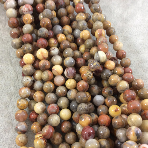 6mm Smooth Round/Ball Shaped Multicolor Yellow Crazy Lace Agate Beads - 14.25