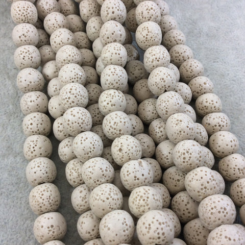 "12mm Tan Colored Volcanic Lava Rock Round/Rondelle Shaped Diffuser Beads with 2mm Holes - Sold by 15"" Strands (Approx. 34 Beads)"