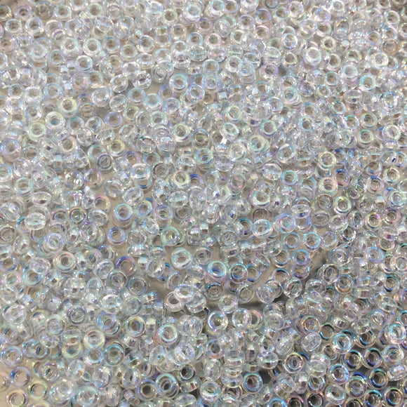 1mm x 2mm Glossy Clear AB Rainbow Genuine Miyuki Glass Seed Spacer Beads - Sold by 7 Gram Tubes (Approx 770 Beads per Tube) - (SPR2-250)