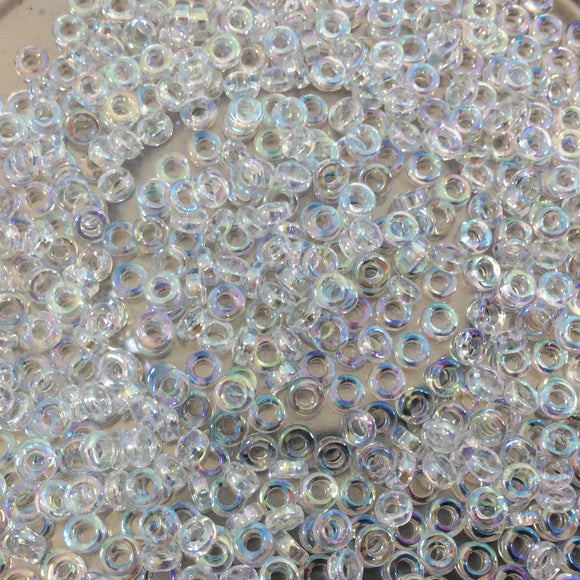 1mm x 3mm Glossy Clear Rainbow AB Genuine Miyuki Glass Seed Spacer Beads - Sold by 8 Gram Tubes (Approx 520 Beads per Tube) - (SPR3-250)