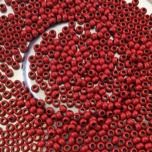 Size 11/0 Glossy Finish Red Coated Brass Seed Beads with 1.1mm Holes - Sold by 2