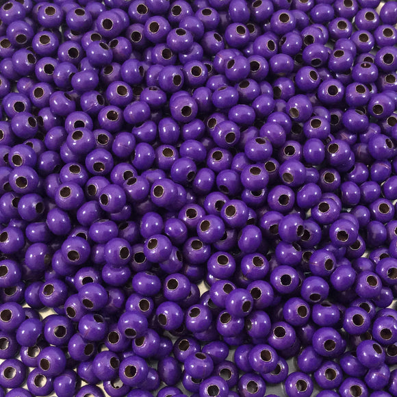Size 8/0 Glossy Finish Purple Coated Brass Seed Beads with 1.1mm Holes - Sold by 5