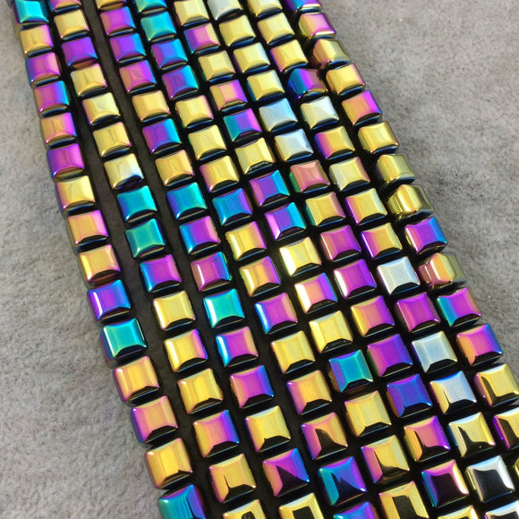 8mm Glossy Finish Faceted Rainbow Titanium Coated Hematite Cube Shaped Beads with 1mm Holes - Sold by 16