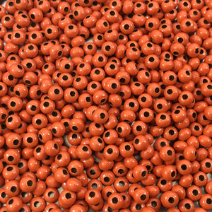"Size 8/0 Glossy Finish Orange Coated Brass Seed Beads with 1.1mm Holes - Sold by 5"", 36 Gram Tubes (~900 Beads per Tube) - (MT8-ORN)"