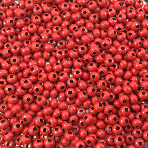 Size 8/0 Glossy Finish Red Coated Brass Seed Beads with 1.1mm Holes - Sold by 5