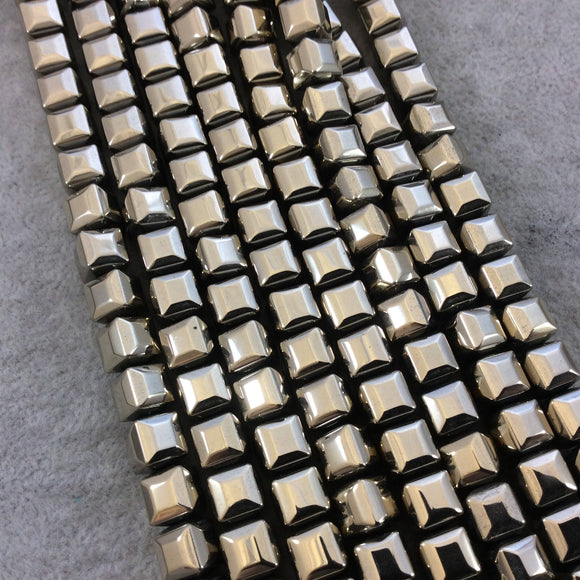 8mm Glossy Finish Faceted Metallic Light Gold Coated Hematite Cube Shaped Beads with 1mm Holes - Sold by 16