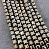 "8mm Glossy Finish Faceted Metallic Light Gold Coated Hematite Cube Shaped Beads with 1mm Holes - Sold by 16"" Strands (Approx. 51 Beads)"