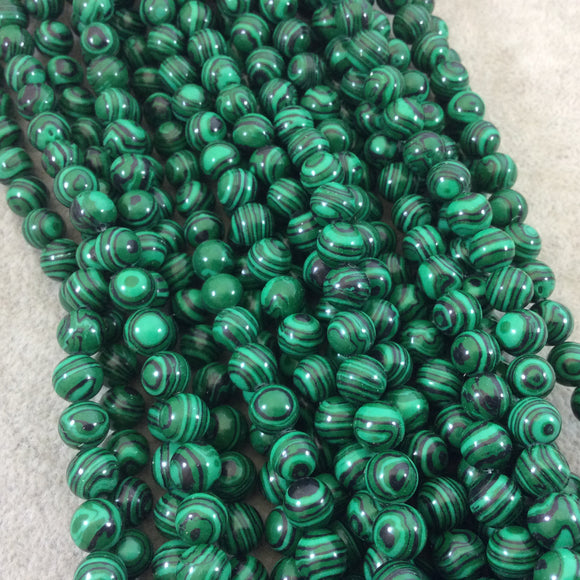 8mm Smooth Round Green Striped Synthetic Malachite Beads - 15.5