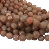"10mm Smooth Peach Moonstone Round/Ball Shaped Beads with 1mm Holes - 15.25"" Strand (Approx. 39 Beads) - Natural High Quality Gemstone"