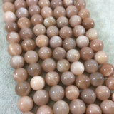 "12mm Smooth Peach Moonstone Round/Ball Shaped Beads with 1mm Holes - 15"" Strand (Approx. 32 Beads) - Natural High Quality Gemstone"