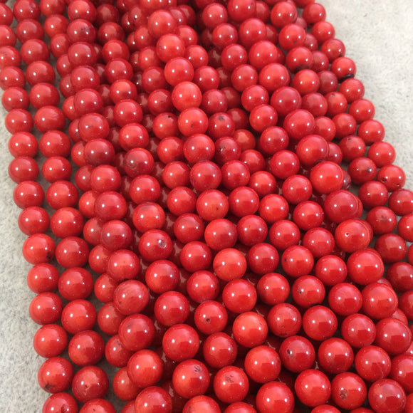 8mm Glossy Finish Dyed Red Sea Bamboo Coral Round/Ball Shaped Beads with 1mm Holes - 15.25