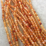"4mm Smooth Natural Pale Carnelian Round/Ball Shaped Beads with .8mm Holes - Sold by 15"" Strands (Approx. 96 Beads) - High Quality Gemstone"