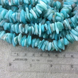 "Natural Amazonite Freeform Chip/Nugget Shaped Beads with 1mm Holes - Sold by 15.5"" Strands (Approx. 148 Beads) - Measuring 10-15mm Wide"