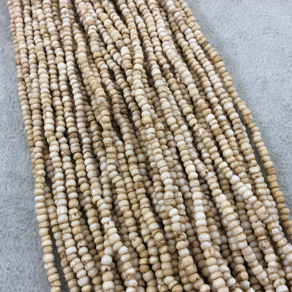 3mm Natural Light Brown Colored Smooth Ox Bone Round/Rondelle Beads with 1mm Holes - 16
