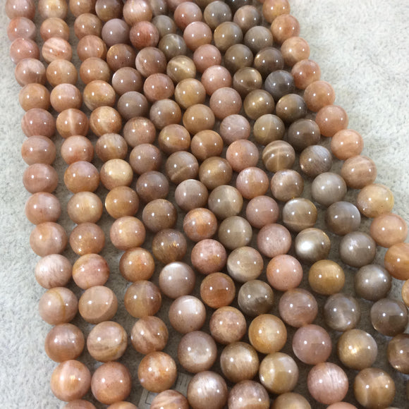 8mm Glossy Finish Natural AAA Peach Sunstone Round/Ball Shaped Beads with 1mm Holes - 15.5