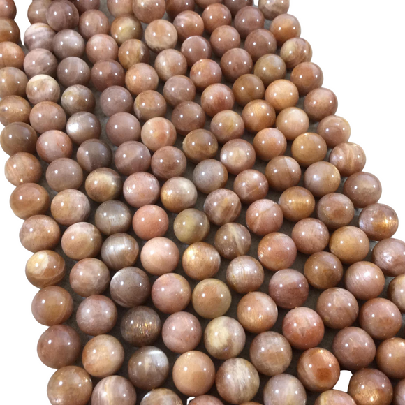 10mm Glossy Finish Natural AAA Peach Sunstone Round/Ball Shaped Beads with 1mm Holes - 15.5