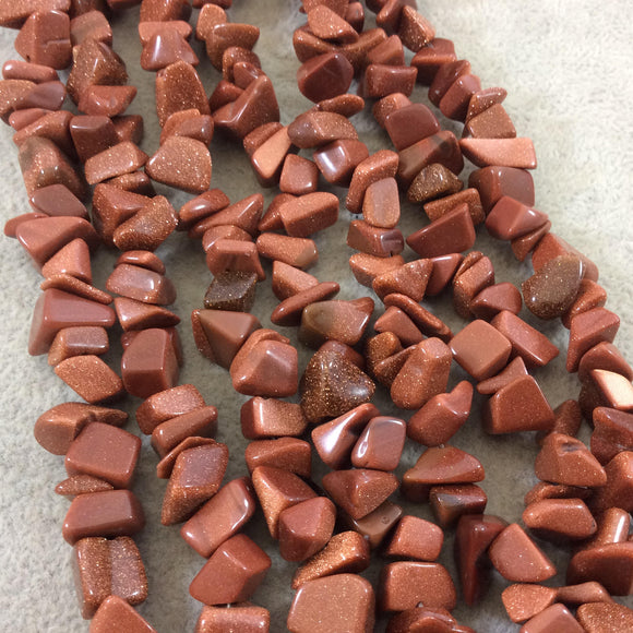 Goldstone (Manmade Glass) Chunky Nugget Shape Beads with 1mm Holes - Sold by 16