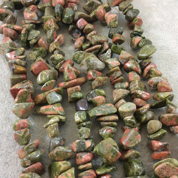 Natural Green/Pink Unakite Chunky Nugget Shaped Beads with 1mm Holes - Sold by 16