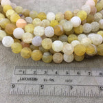 "10mm Natural Matte Light Yellow Crackle/Veined Agate Round/Ball Shaped Beads with 1mm Holes - 14.5"" Strand (~37 Beads) - Quality Gemstone"