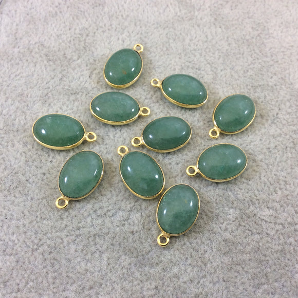 Gold Vermeil Flat Back Smooth Oval Shaped Green Aventurine Bezel Pendant Component - Measuring 10mm x 14mm - Natural Gemstone