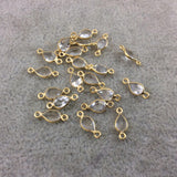BULK LOT - Pack of Six (6) Gold Vermeil Pointed/Cut Stone Faceted Teardrop Shaped Clear Natural Quartz  Bezel Connectors  Measures 4mm x 6mm