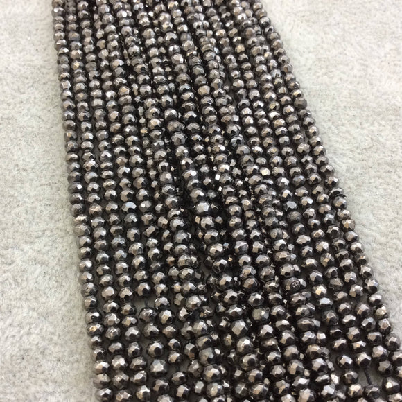 3mm Faceted Natural Gunmetal Plated Metallic Pyrite Rondelle Beads - Sold by 13.5
