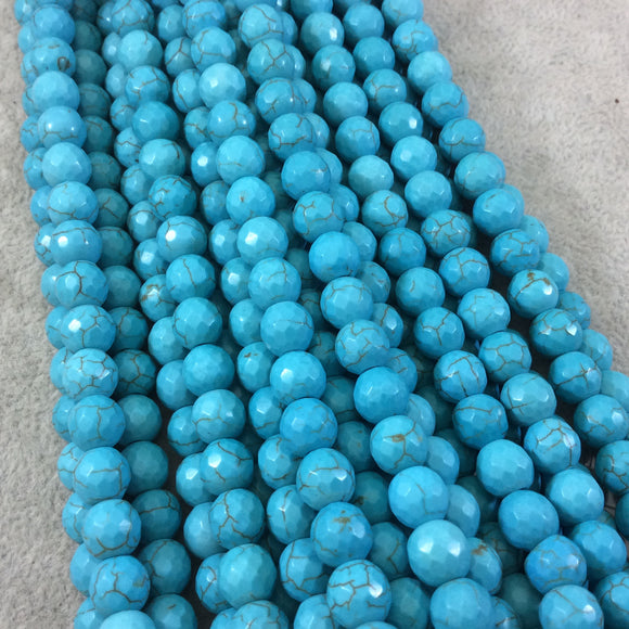 8mm Faceted Dyed Veined Turquoise Howlite Round/Ball Shaped Beads - Sold by 14
