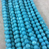 "8mm Faceted Dyed Veined Turquoise Howlite Round/Ball Shaped Beads - Sold by 14"" Strands (Approx. 48 Beads) - Quality Gemstone"